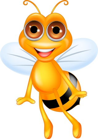 bee pollen: Bee cartoon flying