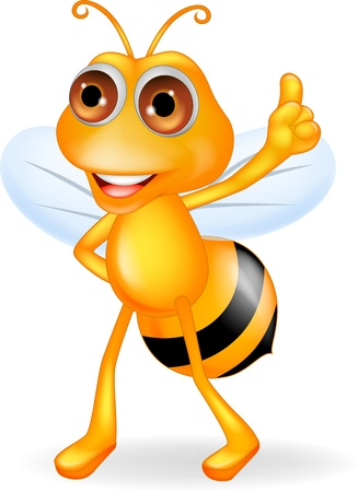 bee on white flower: Be cartoon thumb up