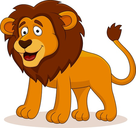 male animal: Funny lion cartoon Illustration