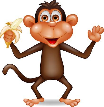 mono caricatura: Mono con el pl�tano dibujos animados Vectores