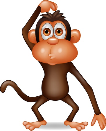 cute cartoon monkey: Thinking monkey cartoon