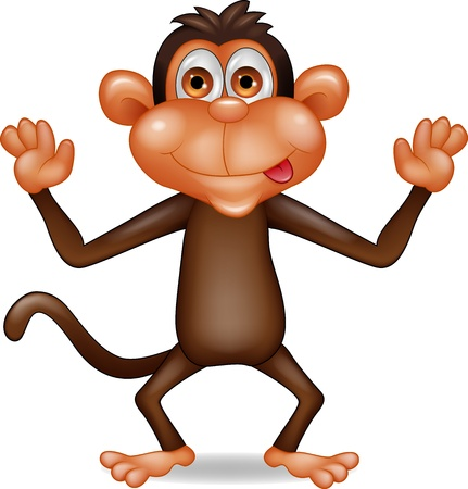 scratching: Happy monkey cartoon Illustration