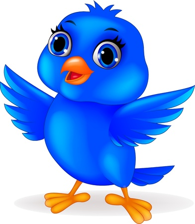 lovable: Blue bird cartoon