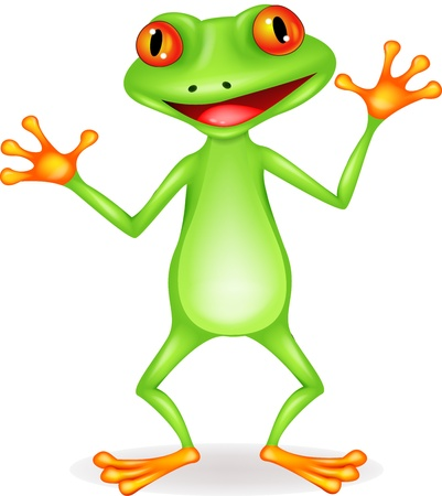 frog illustration: Funny frog cartoon
