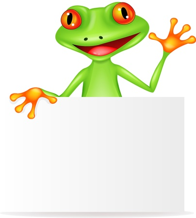 crazy frog: Frog cartoon with blank sign