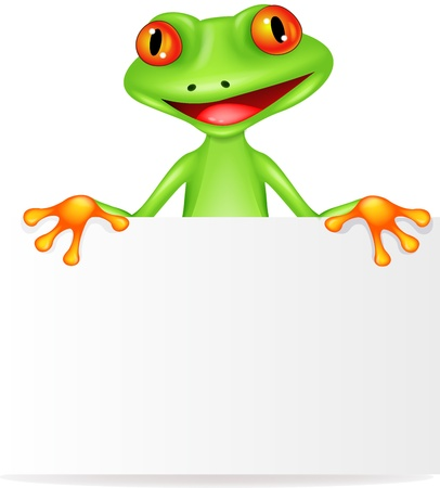 reptile: Frog cartoon with blank sign