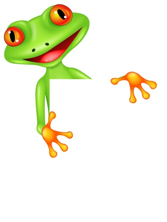 tiny frog: Frog cartoon with blank sign