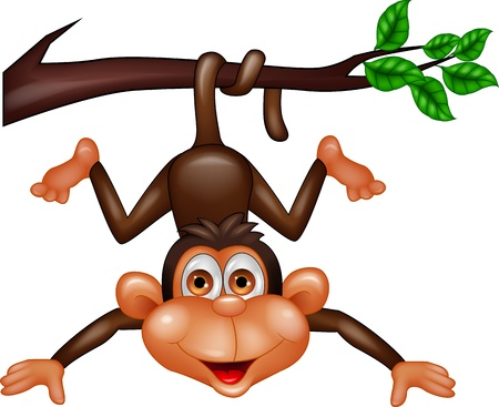 cartoon monkey: Monkey hanging on tree branch