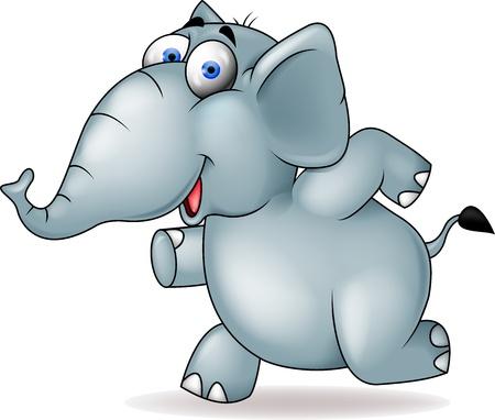 elefante cartoon: Dibujos animados de elefantes corriendo Vectores