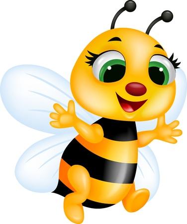 abeja reina: Dibujo animado de la abeja Vectores