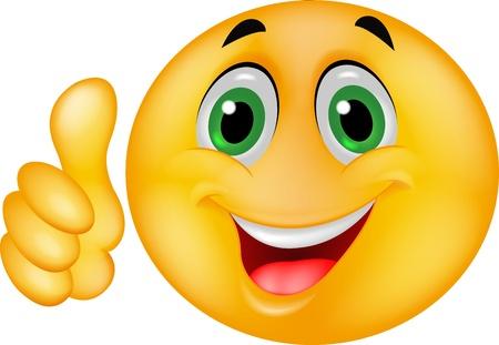 cara sonriente: Emoticon sonriente con el pulgar arriba Vectores
