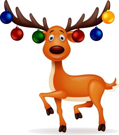 renna: Cervo con palla di Natale Vettoriali