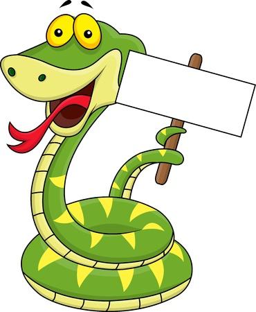 snake: Snake and blank sign cartoon