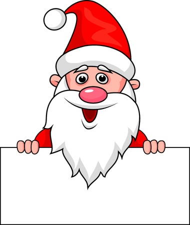 welcome smile: Santa con la muestra en blanco Vectores