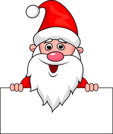 Santa with blank sign Vector