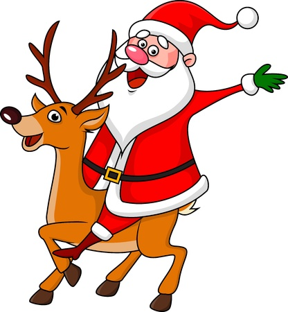 Santa riding deer Vector