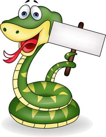 serpiente de cascabel: Serpiente con cartel en blanco Vectores