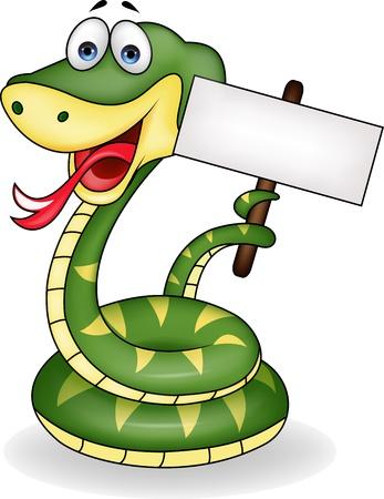 serpiente de cascabel: Serpiente con cartel en blanco Vectores