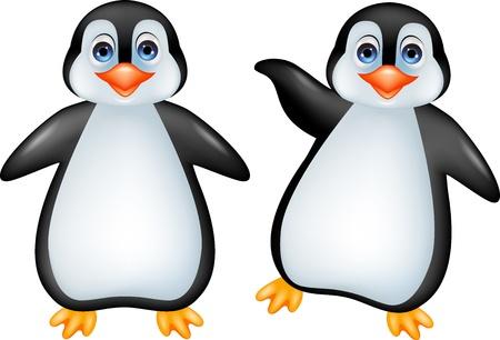 frieren: Lustige Pinguinkarikatur Illustration