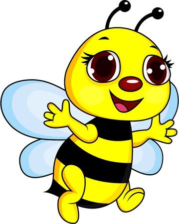 queen bee: Caricatura feliz abeja