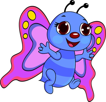 flaying: Happy butterfly cartoon Illustration