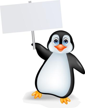 Pingüino de la historieta con la muestra en blanco