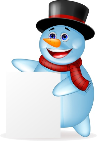snowman isolated: Snowman with blank sign
