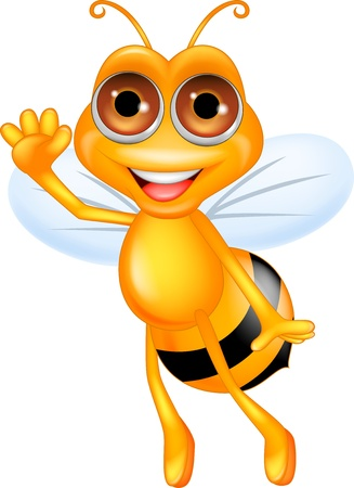 bee on white flower: Bee cartoon waving