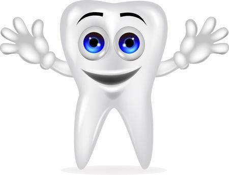 diente caricatura: Dibujos animados diente feliz Vectores