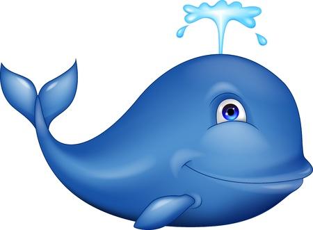 ballena azul: Sonriendo dibujos animados ballena