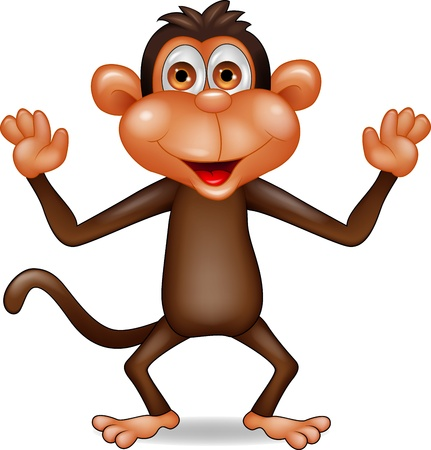 in amazement: Happy monkey cartoon Illustration