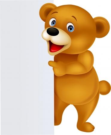 oso: De dibujos animados de peluche con la muestra en blanco Vectores