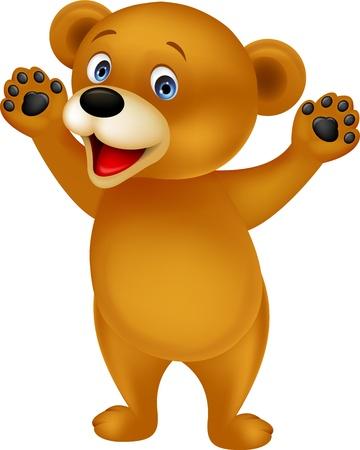 oso caricatura: Oso de dibujos animados feliz