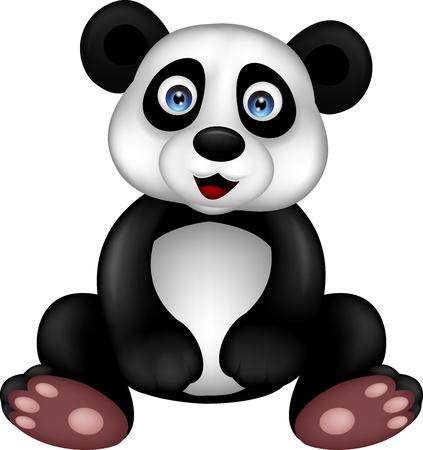 one panda: Funny panda cartoon sitting Illustration