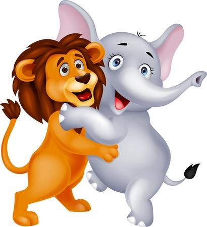 cartoon  lion: Elephant and lion embracing each other