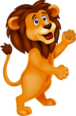 felid: Lion cartoon waving
