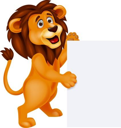 felid: Lion cartoon with blank sign