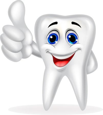 diente caricatura: Diente de la historieta con el pulgar para arriba