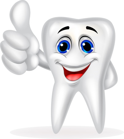 oral hygiene: Tooth cartoon with thumb up