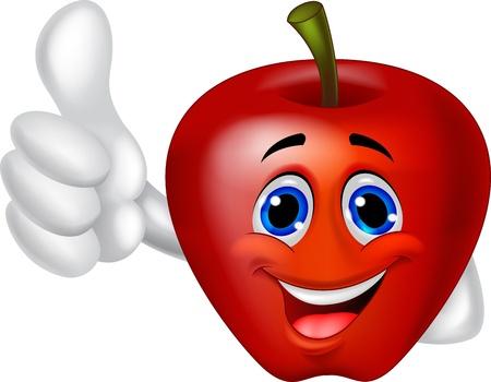 manzana caricatura: Manzana de dibujos animados con el pulgar hacia arriba