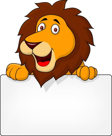 Lion with blank sign Stock Vector - 17380857