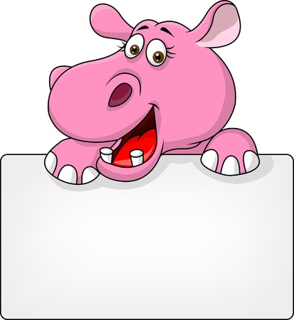 hippopotamus: Hippo with blank sign Illustration