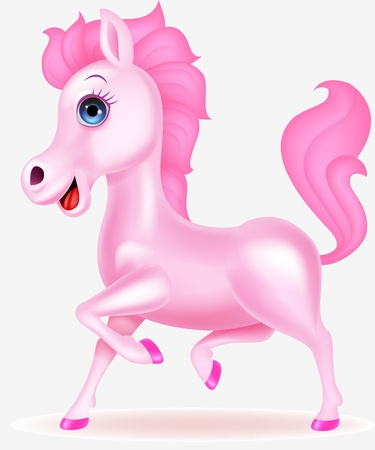 Funny pink horse cartoon Stock Vector - 17380864