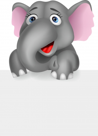 Funny elephant with blank sign Vector