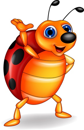 animals horned: Funny ladybug cartoon waving Illustration