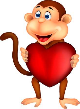 Monkey holding red heart Stock Vector - 17380867