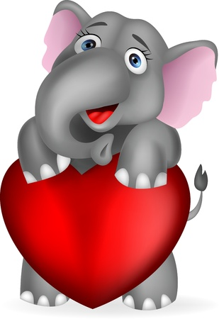 Elephant holding red heart Stock Vector - 17380869