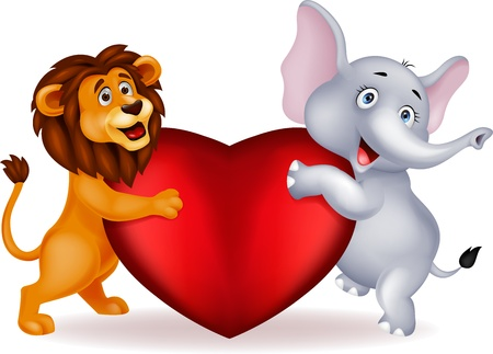 Lion and elephant holding red heart Vector