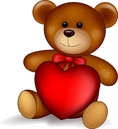 Baby bear with red heart Stock Vector - 17380889