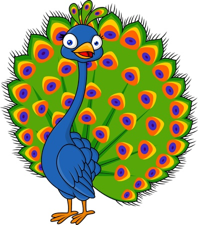 peacock design: Cute peacock cartoon Illustration